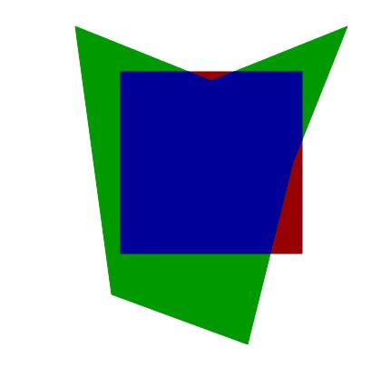 Алгоритм отсечения Сазерленда-Ходгмана, скриншот вывода примера