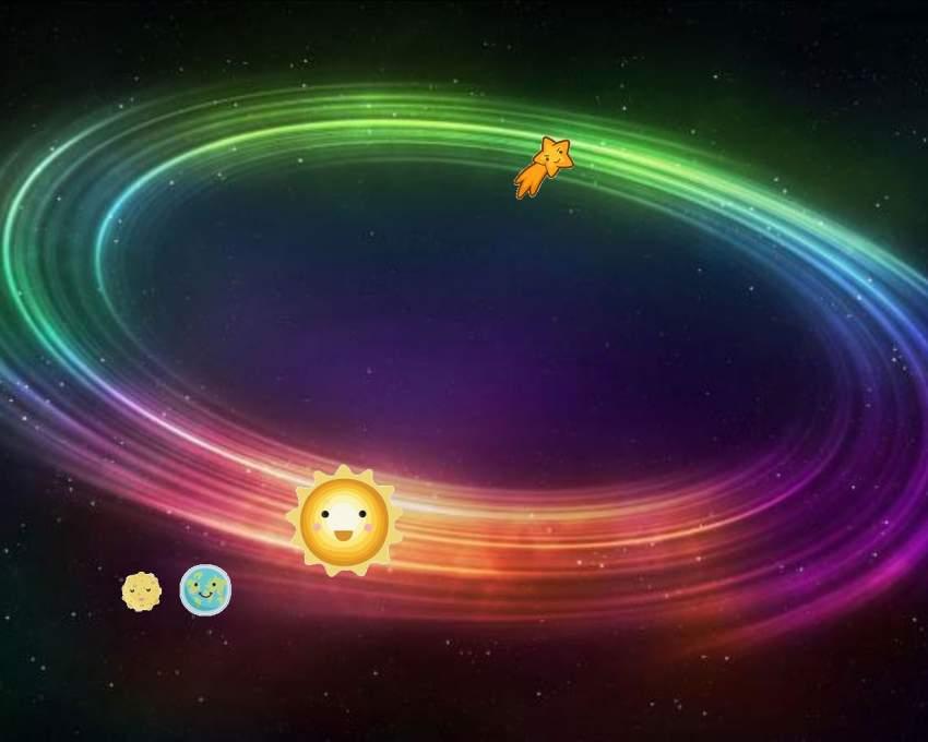 Движущиеся Солнце, Земля, Луна и комета, скриншот (качество потеряно)