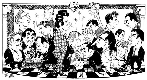 дружеский шарж на участников финала чемпионата СССР 1973 года